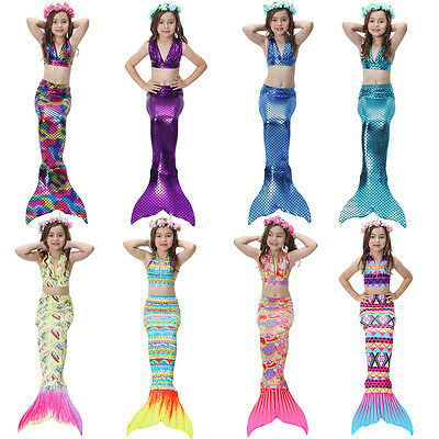 3pcs Mermaid Tail with Bikini Swimmable Costume Sets Swimsuit for Girls Swimming