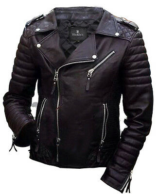 Genuine Buffalo cow leather Motorcycle Biker Distressed Vintage Leather Jacket