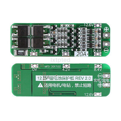 3S 20A 12.6V Cell 18650 Li-ion Lithium Battery Charger BMS Protection PCB Board~