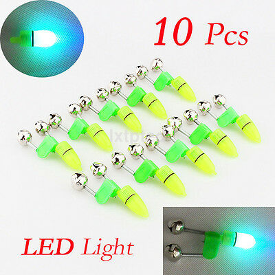 10PCS LED Night Fishing Rod Bite Bait Alarm Light Twin Bells Clip Alerter AU~