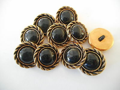 M14 * 12 Gold & Black Plastic Shank Buttons New & Unused 22Mm