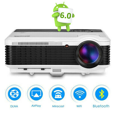EUG WiFi Smart Projector 4500Lumens Bluetooth Multimedia Home Cinema Movie 1080p