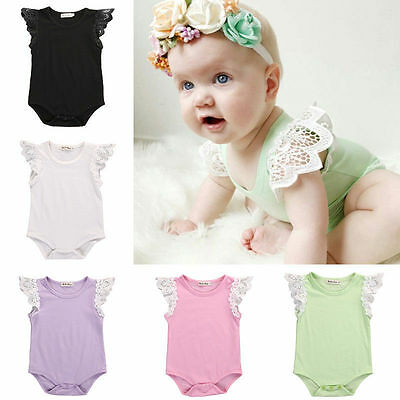 Newborn Infants Baby Girl Romper Lace Cap Sleeve Bodysuit Infant Clothes Outfit