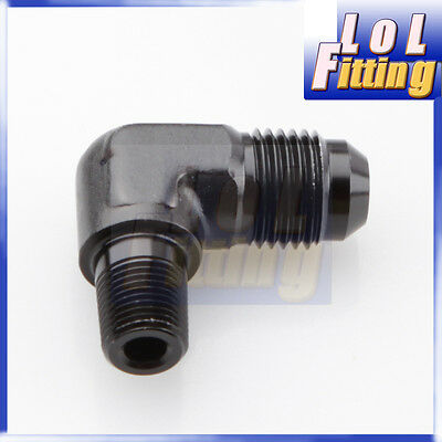 """AN8 AN-8 Male to 3/8"""" NPT 90 Degree Adapter Aluminum Fuel Fitting Black"""