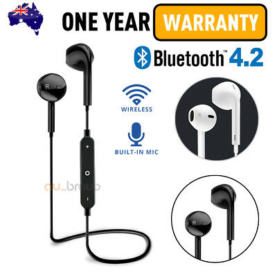 Wireless Bluetooth 4.2 Headset Earphone Sport Headphone Mic for iPhone Samsung