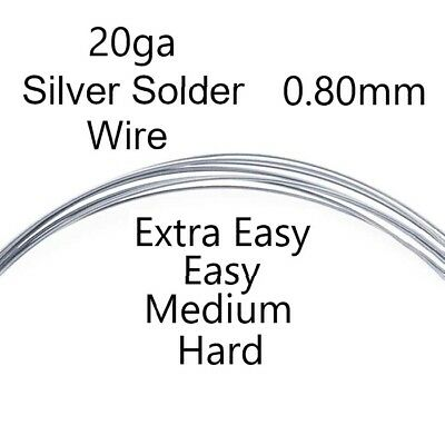 925 Sterling Silver Solder Wire 20ga (0.80mm) Extra Easy Medium Hard Jewellery