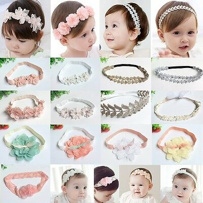 UK Baby Girls Flower Hairband Soft Elastic Headband Hair Accessories Band 0-6T