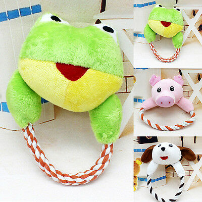 Cute Pet Dog Cat Puppy Plush Interactive Chew Squeaker Sound Playing Toy Helpful