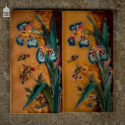 Pair of Floral Tube Lined Tiles with Colourful Iris Design