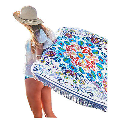 Round Towel Picnic Blanket Cotton Tablecloth Throw Tapestry 160cm(white)