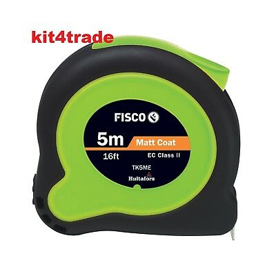 Fisco Tuf-Lok Hi Vis Tape Measure 5m / 16ft (Width 19mm) TK5ME COLOUR CHOICE