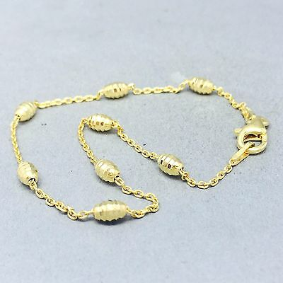 """Dainty 9Ct Gold On 925 Solid Sterling Silver """"honeycomb"""" Bracelet    1184"""