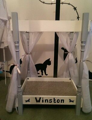 Cat/Dog Double Bunk Bed 4 Poster Style Handmade Personalised (PAINTED)