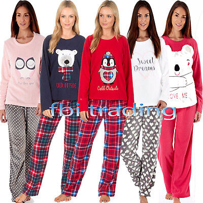 Ladies Womens Fleece Pyjamas Set Pjs Long Sleeve Top Night Lounge Wear Winter