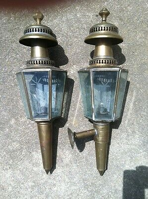 Vintage Antique Brass, Gas Sconces - Hand Soldered With Etched Glass Panes