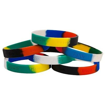 Colors of Salvation Silicone Bracelets with Wording Christian Pack of 12
