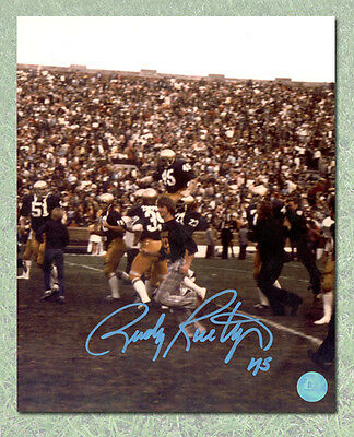 Rudy Ruettiger University of Notre Dame Autographed Carry-Off 8x10 Photo