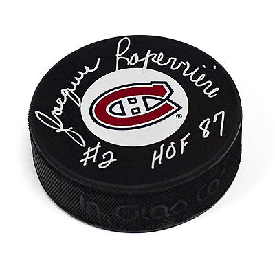 Jacques Laperriere Montreal Canadiens Autographed Hockey Puck with HOF 1987 Note