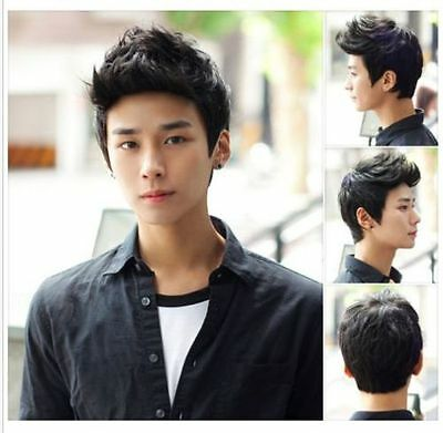 New Hot Sell Men Short Straight Black Synthetic Cosplay Party Hair Full Wig Wigs
