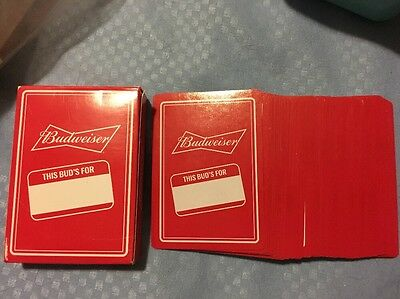 Red Budweiser This Bud's For You logo Deck Of playing cards