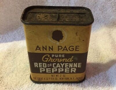 Vintage ANN PAGE A&P Tea Co Ground Red Or Cayenne Pepper Spice Tin