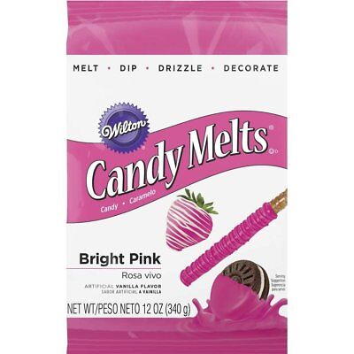 Wilton Bright Pink Candy Melts - Artificial Vanilla Flavored Candy 12oz Bag