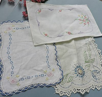 Vintage French style centerpieces/ doiles with lace & embroidery ( lot of 3)