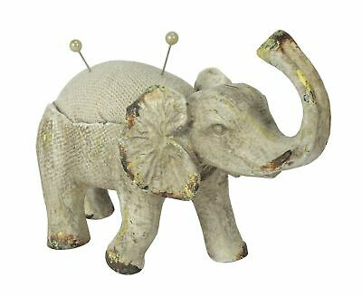 Elephant Pin Cushion w/ Trunk Raised - Distressed Antique White Finish