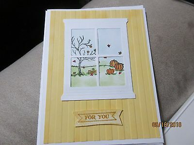 Handmade Thanksgiving Card - Window with pumpkins - Using Stampin' Up products