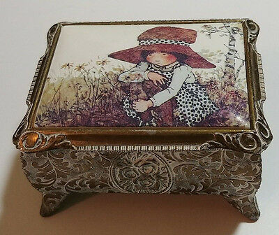 Vintage Ornate Metal Jewelry Trinket Box Container Hinged Lid - Red Felt Lined