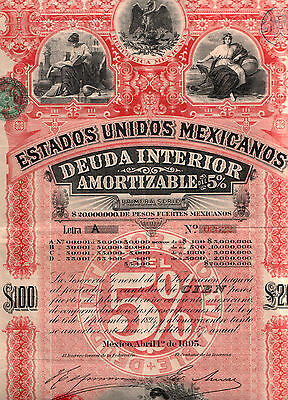 1890's MEXICO $100 RED DIAMOND BOND! RARE HISTORIC STUNNER w MEX TREASURER'S SIG