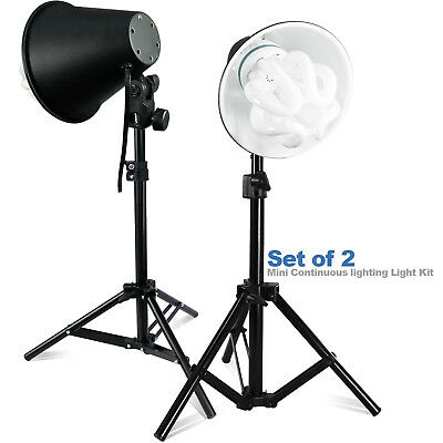 "2-Pack 50W Light Stand Kit Photography 26"" Table Top Photo Studio w/ Bulbs"