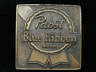 QH13142 VINTAGE 1970s **PABST BLUE RIBBON BEER** BREWING COMPANY BELT BUCKLE