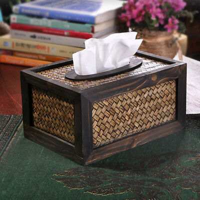 Bamboo Wood Rectangular Facial Tissue Box Cover Holder Home Office Car