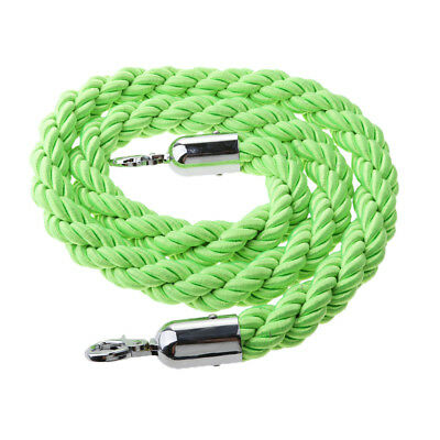 Green Queue Barrier Stand Posts Twisted Rope Divider Crowd Stanchion 1.5m