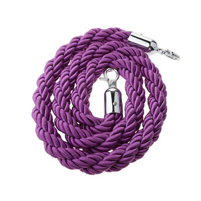 Purple Queue Barrier Stand Posts Twisted Rope Divider Crowd Stanchion 1.5m
