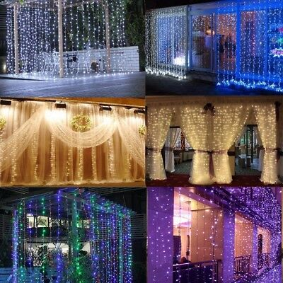 10M*3M 1000 LED String Curtain Fairy Light Wedding Christmas Xmas Garden 10Mx3M