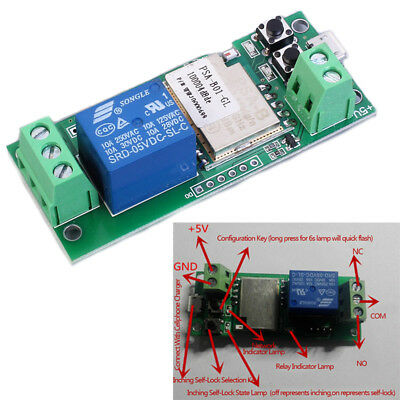 Single Channel Relay Module Inching Self-Lock Wifi 5V For Cellphone Control DE