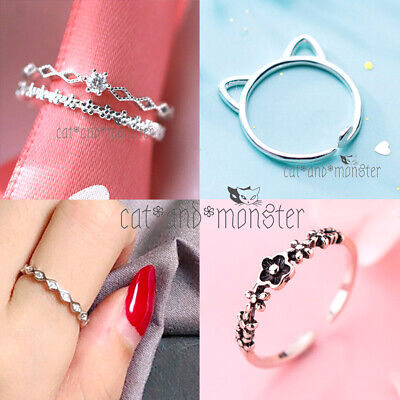 925 Solid Genuine Sterling Silver Adjustable Toe heart rope cuff Cross lady Ring