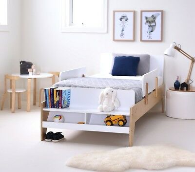 New Kids WHITE KODI KING SINGLE Timber Bed Bedroom Furniture
