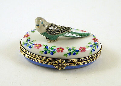 New Hand Painted French Limoges Trinket Box Cute Parakeet On Colorful Flowers