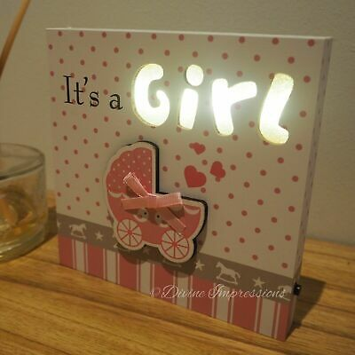 It's a Girl LED Wooden Plaque Sign Night Light Square Block Pink Nursery Decor