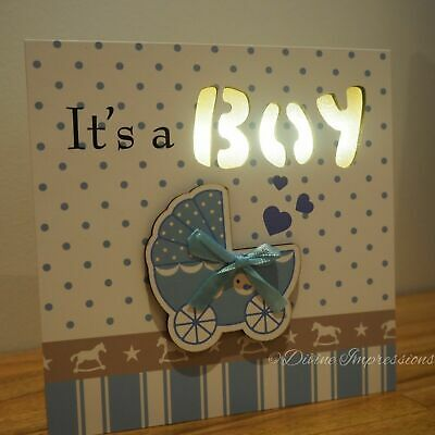 It's a Boy LED Wooden Plaque Sign Night Light Square Block Blue Nursery Decor