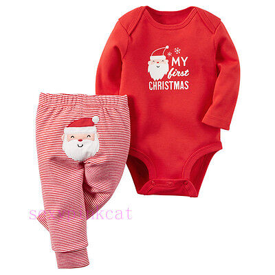 My First Christmas Baby Boys Girls Romper Bodysuit+ Pants Clothes Outfits 0-18M
