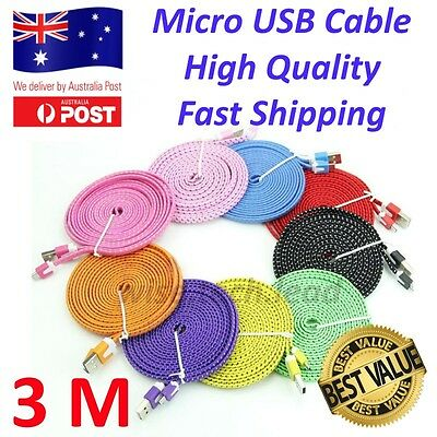 USB to Micro USB Cable 3m Android Mobile phone Charge Braided Data Sync Charging