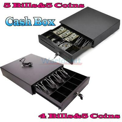 Cash Money Drawer Box 4 Bill/5 Bill & 5 Coin Tray Compatible Works w/POS RJ11 US