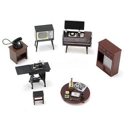 1:12 Vintage Phonograph Worktable Telephon Set Dollhouse Miniature Furniture DIY