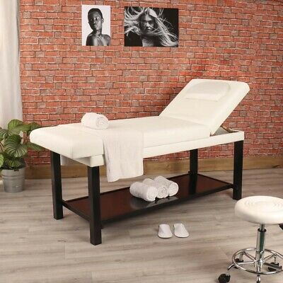 White Leather Stationary Wooden Massage & Beauty Treatment Table Couch Bed