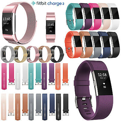 For FitBit Charge 2 Strap Neu Ersatz Band Classic Buckle Metall-Armband Zubehör