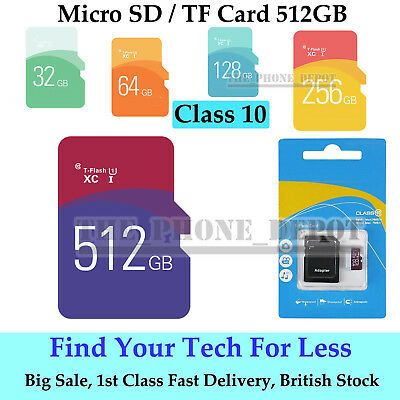 512GB Micro SD Card & free Adapter For Smartphones Tablets Cameras etc Class 10